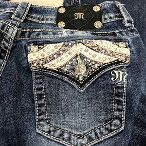 Miss Me Boot Cut Jeans Rose Gold Pyramid Embellish